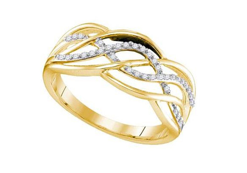 Yellow-Tone Sterling Silver Diamond Woven Crossover Strand Band Ring 1/10 Cttw