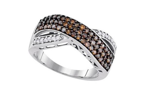 10kt White Gold Brown Diamond Womens Crossover Band Ring 3/4 Cttw