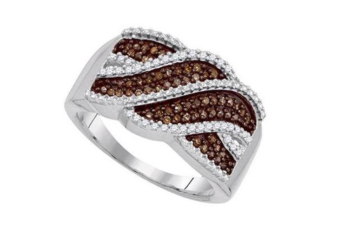 10kt White Gold Brown Diamond Womens Crossover Band Ring 1/3 Cttw