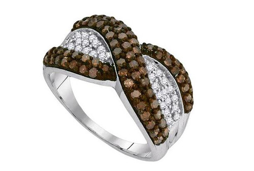 10kt White Gold Brown Diamond Womens Crossover Stripe Band Ring 1 Cttw