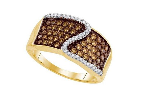 10kt Yellow Gold Brown Diamond Womens Micro-Pave Band Ring 3/4 Ctw