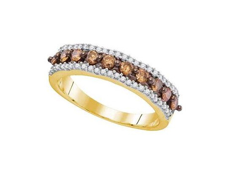 10kt Yellow Gold Brown Diamond Womens Band Ring 5/8 Cttw