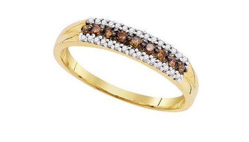 10kt Yellow Gold Brown Diamond Womens Band Ring 1/5 Cttw