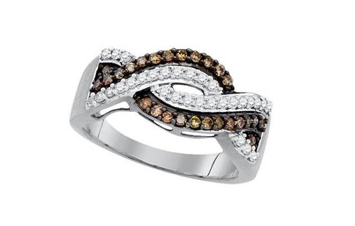 10kt White Gold Brown Diamond Womens Crossover Band Ring 1/2 Cttw