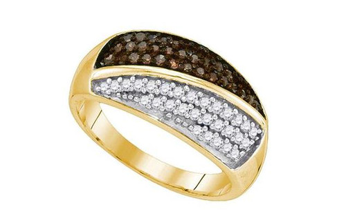 10kt Yellow Gold Brown Diamond Womens Cluster Band Ring 1/2 Cttw