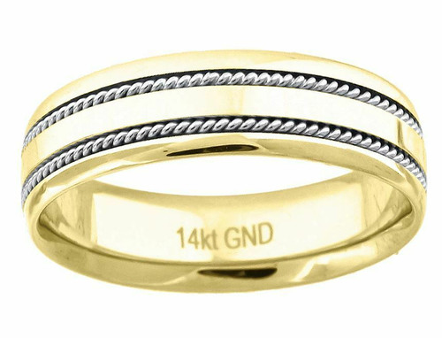 14kt Gold Unisex Two-tone Twisted Rope Sides Center Polished Band 72338