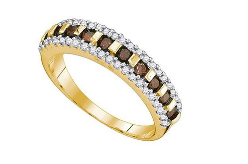 10kt Yellow Gold Brown Diamond Womens Triple Band Ring 1/2 Cttw
