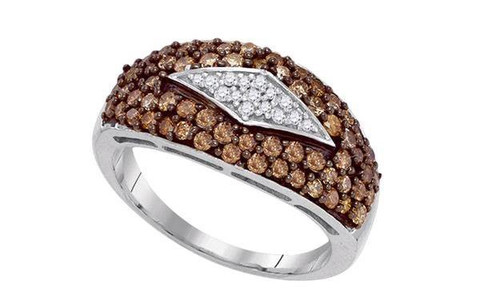 10kt White Gold Brown Diamond Womens Band Ring 1 Cttw