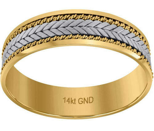 14kt Gold Mens Two-tone Braided Center Double Ropes Twisted Sides Band 72353