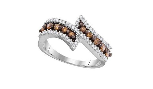 10kt White Gold Brown Diamond Womens Bypass Band Ring 1/2 Cttw