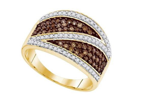 10kt Yellow Gold Brown Diamond Womens Crossover Stripe Band Ring 3/4 Cttw