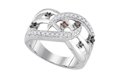 10kt White Gold Brown Diamond Openwork Crossover Strand Band Ring 1/3 Cttw