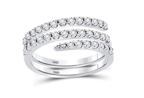 Sterling Silver Diamond Womens Triple Strand Wrap Band Ring 1/10 Cttw