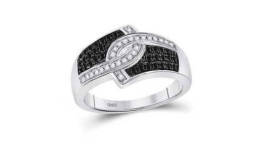 10kt White Gold Black Diamond Womens Band Ring 1/3 Cttw