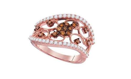 10kt Rose Gold Brown Diamond Womens Filigree Band Ring 7/8 Cttw