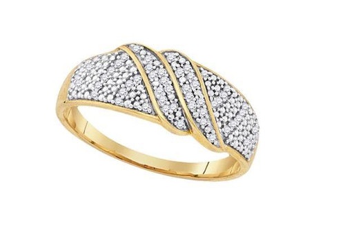 Yellow-Tone Sterling Silver Diamond Womens Band Ring 1/6 Cttw