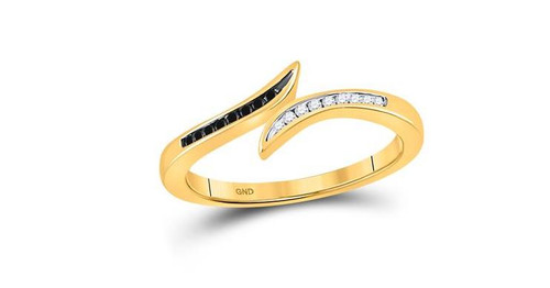 10kt Yellow Gold Black Diamond Womens Slender Bypass Band Ring 1/10 Cttw