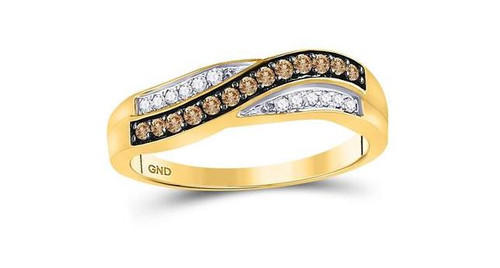 10kt Yellow Gold Brown Diamond Womens Band Ring 1/4 Cttw