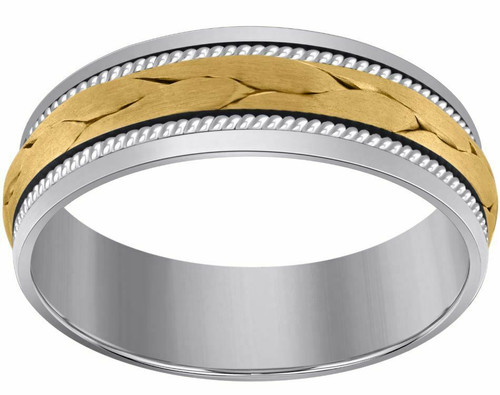 14kt Gold Men's Two-tone Braided Cord Center Twisted Rope Sides Band 75159