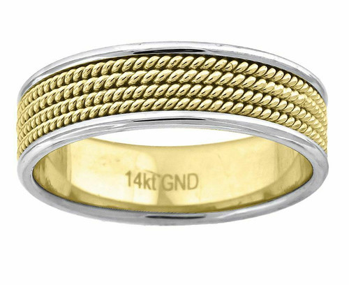 14kt Gold Men's Two-tone Four Twisted Rope Center Wedding Engagement Band 72294