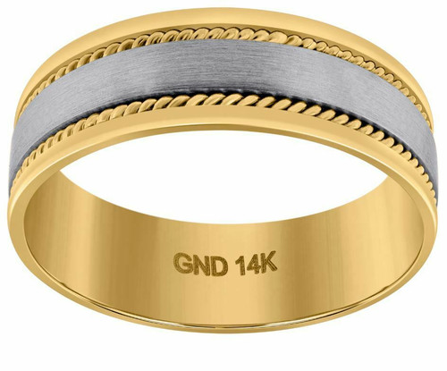 14kt Gold Men's Two-tone Twisted Rope Sides Center Brushed Band 72311