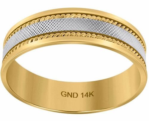 14kt Gold Unisex Two-tone Textured Center Twisted Rope Sides Band 72388