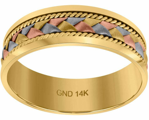 14kt Gold Unisex Tri-color Braided Woven Center Twisted Rope Sides Band 75225