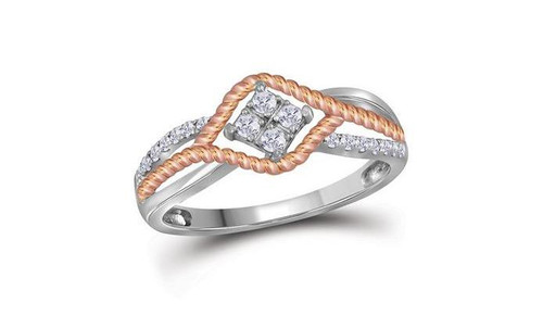 10kt Two-Tone Gold Diamond Womens Rope Rose-Tone Band Ring 1/5 Cttw