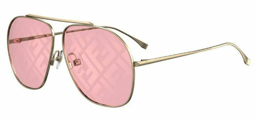 Authentic Fendi 0407/G/S 0EYR/0L Gold Pink/Red Mirrored Sunglasses