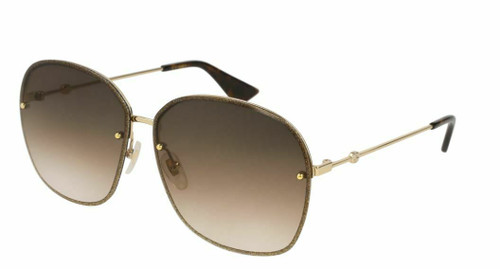 Authentic Gucci GG 0228S 003 Gold/Brown Gradient Sunglasses