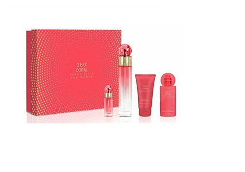 Authentic 360 CORAL 4 PCS SET FOR WOMEN: 3.4 EDP SP New In Box