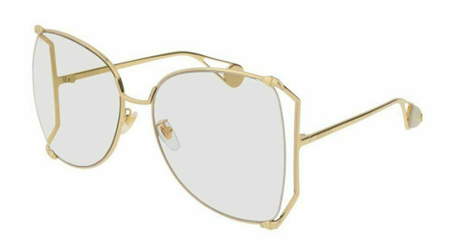 Authentic Gucci GG 0252S 001 Gold/Transparent Butterfly Women Sunglasses