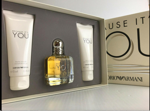 Authentic EMPORIO ARMANI BECAUSE IT'S YOU 2 Pcs Set: 1.7 Oz EDP SP New In Box
