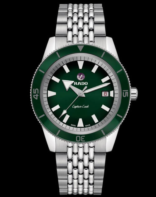 Authentic Rado Captain Cook Automatic Green Dial Stainless Men Watch R32505313