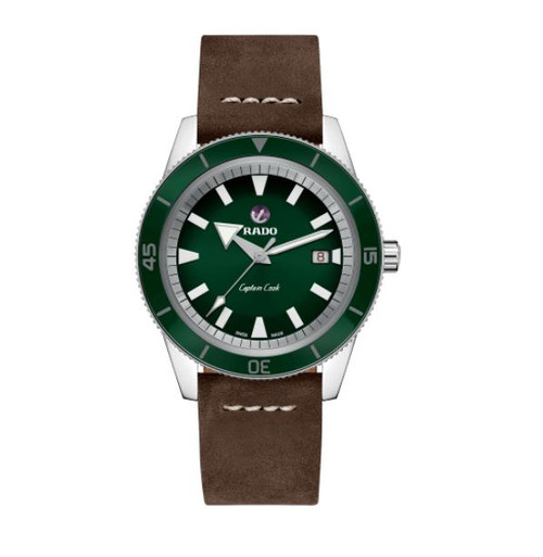 Authentic Rado Captain Cook Automatic Green Dial Leather Men's Watch R32505315