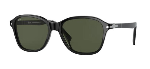 Authentic Persol 0PO 3244S 95/31 Black/Green Square Unisex Sunglasses