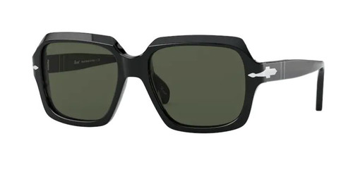Authentic Persol 0PO 0581S 95/31 Black/Green Square Unisex Sunglasses