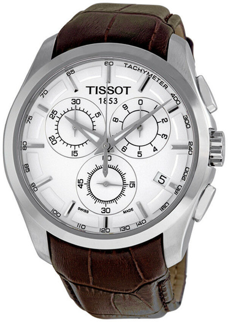 Authentic Tissot Couturier Chronograph Brown Leather Men's Watch T0356171603100