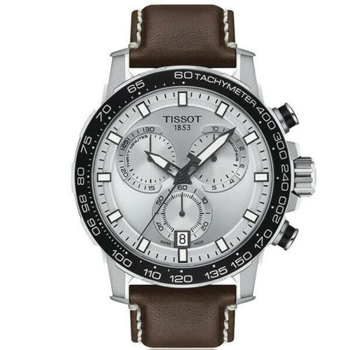 Authentic Tissot SuperSport Chrono Silver Dial Leather Men Watch T1256171603100