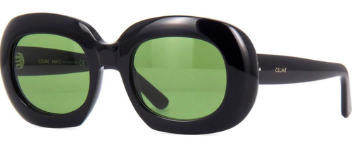 Authentic Celine CL 40070I 01N Black/Green Oval Oversized Women's Sunglasses