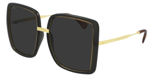 Authentic Gucci GG 0903S 001 Gray Gold/Gray Square Oversized Women's Sunglasses