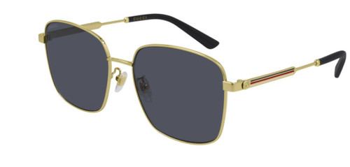 Authentic Gucci GG 0852SK 002 Gold/Gray Oversized Square Women's Sunglasses