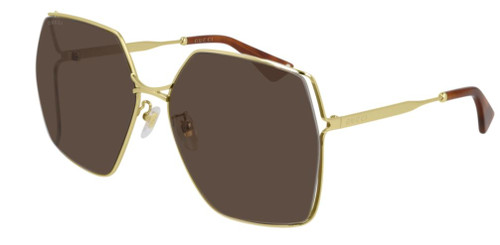 Authentic Gucci GG 0817S 002 Gold/Brown Square Women's Sunglasses