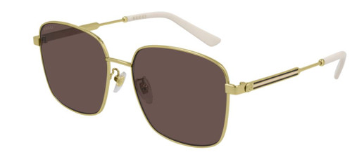 Authentic Gucci GG 0852SK 004 Gold/Brown Oversized Square Women's Sunglasses