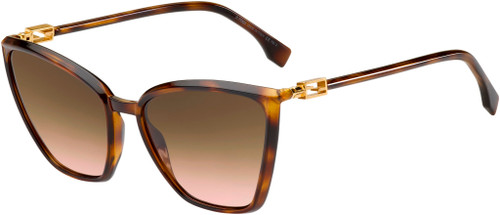 Authentic Fendi 0433/G/S 0086/M2 Dark Havana/Brown Pink Gradient Sunglasses