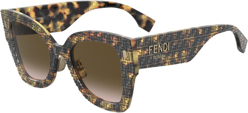 Authentic Fendi 0434/G/S 02VM/M2 Havana Pattern/Brown Gradient Sunglasses