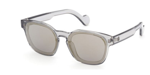 Authentic Moncler ML 0086 20C Transparent Grey/Smoke Gold Mirrored Sunglasses