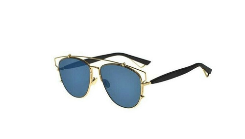 Authentic Christian Dior Technologic 0RHL/2A Gold Black/Blue Mirrored Sunglasses