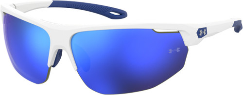 Authentic Under Armour Ua 0002/G/S 0WWK/W1 White Blue/Blue Mirrored Sunglasses