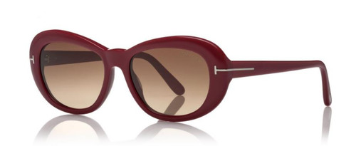 Authentic Tom Ford FT 0819 Elodie 69F Red/Brown Gradient Oval Women's Sunglasses